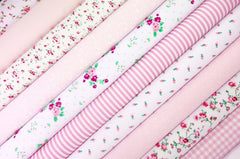 Fabric Bundles Fat Quarters Polycotton Material Florals Gingham Spots Craft - ALL PINKS