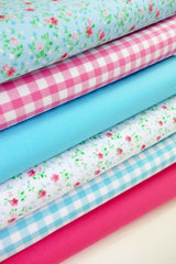 Fabric Bundles Fat Quarters Polycotton Material Florals Gingham Plains Craft - AQUA CERISE