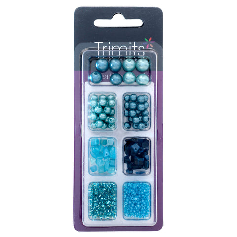 Impex Trimits Jewellery Craft Creative Beads Kits Blue Colours Mixed Pack - Hobby & Crafts