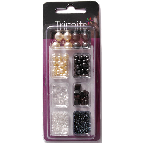 Impex Trimits Jewellery Craft Creative Beads Kits Grey And White Colours Mixed Pack - Hobby & Crafts