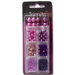 Impex Trimits Jewellery Craft Creative Beads Kits Pink And Lilac Colours Mixed Pack - Hobby & Crafts