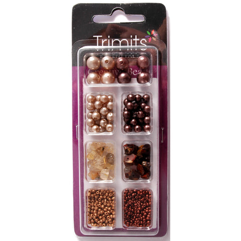Impex Trimits Jewellery Craft Creative Beads Kits Bronze And Gold Colours Mixed Pack - Hobby & Crafts