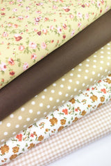 Fabric Bundles Fat Quarters Polycotton Material Florals Gingham Spots Craft - BEIGE BROWN