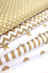 Fabric Bundles Fat Quarters Polycotton Material Beige Geometrics Stars Spots Children Craft