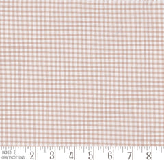 "Beige Gingham Polycotton 1/8"" Checked Fabric Select Size 112cm Wide"