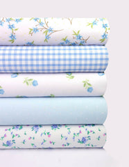Fabric Bundles Fat Quarters Polycotton Material Florals Gingham Spots Craft - BLUE