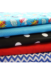 Fabric Bundles Fat Quarters Polycotton Material Boom Pow Wow Spots Children Craft