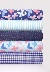 Fabric Bundles Fat Quarters Polycotton Material Butterflies Blue Gingham Spots Children Craft