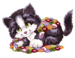 Collection d'Art Printed Needlepoint Tapestry Canvas Needlecraft 20x25cm - Patchwork Kitten