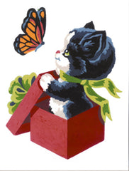 Collection d'Art Printed Needlepoint Tapestry Canvas Kit Needlecraft 14x18cm - Kitten And Butterfly