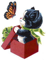 Collection d'Art Printed Needlepoint Tapestry Canvas Needlecraft 20x25cm - Kitten And Butterfly
