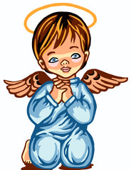 Collection d'Art Printed Needlepoint Tapestry Canvas Needlecraft 20x25cm - Boy Angel Praying
