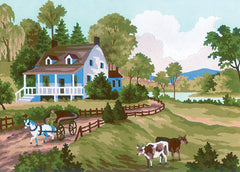 Collection d'Art Printed Needlepoint Tapestry Canvas Needlecraft 20x25cm - Farm Scene