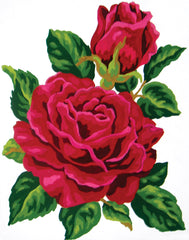 Collection d'Art Printed Needlepoint Tapestry Canvas Needlecraft 20x25cm - Red Rose And Rose Bud