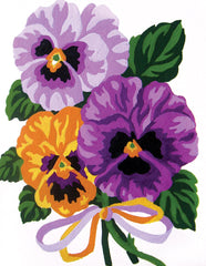 Collection d'Art Printed Needlepoint Tapestry Canvas Needlecraft 20x25cm - Pansies Bouquet