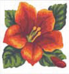 Collection d'Art Printed Needlepoint Tapestry Canvas Kit Needlecraft 20x20cm - Red Hibiscus