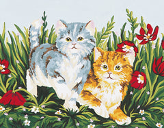 Collection d'Art Printed Needlepoint Tapestry Canvas Kit Needlecraft 20x30cm - Playful Kittens