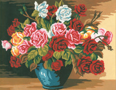 Collection d'Art Printed Needlepoint Tapestry Canvas Kit Needlecraft 22x30cm - Bowl Of Roses