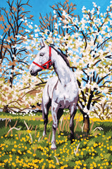 Collection d'Art Printed Needlepoint Tapestry Canvas Needlecraft 30x40cm - Horse in the Orchard