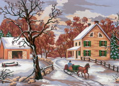 Collection d'Art Printed Needlepoint Tapestry Canvas Needlecraft 30x40cm - Winter Scene