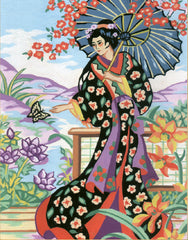 Collection d'Art Printed Needlepoint Tapestry Canvas Kit Needlecraft 22x30cm - Japanese Lady