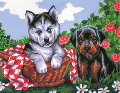 Collection d'Art Printed Needlepoint Tapestry Canvas Kit Needlecraft 22x30cm - Doggie Friends