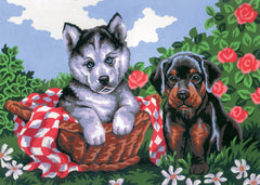 Collection d'Art Printed Needlepoint Tapestry Canvas Needlecraft 30x40cm - Doggie Friends