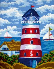 Collection d'Art Printed Needlepoint Tapestry Canvas Kit Needlecraft 30x22cm - Lighthouse
