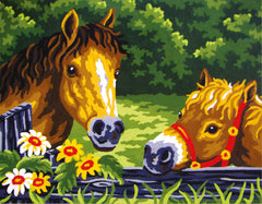 Collection d'Art Printed Needlepoint Tapestry Canvas Kit Needlecraft 22x30cm - Ponies At the Fence