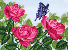 Collection d'Art Printed Needlepoint Tapestry Canvas Needlecraft 30x40cm - Butterfly On Roses