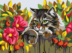 Collection d'Art Printed Needlepoint Tapestry Canvas Needlecraft 30x40cm - Cat Behind A Fence