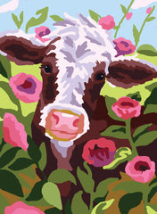 Collection d'Art Printed Needlepoint Tapestry Canvas Needlecraft 30x40cm - Cow