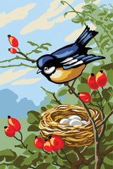 Collection d'Art Printed Needlepoint Tapestry Canvas Needlecraft 30x40cm - Bird With Nest