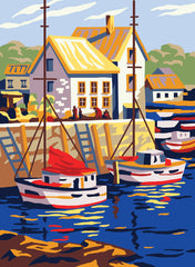 Collection d'Art Printed Needlepoint Tapestry Canvas Needlecraft 30x40cm - Boats In Small Port