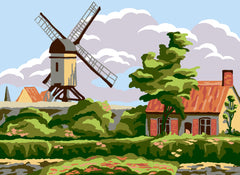 Collection d'Art Printed Needlepoint Tapestry Canvas Needlecraft 30x40cm - Windmill Cottage
