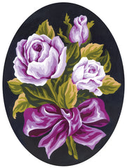 Collection d'Art Printed Needlepoint Tapestry Oval Canvas Needlecraft 25x30cm - Roses Posy