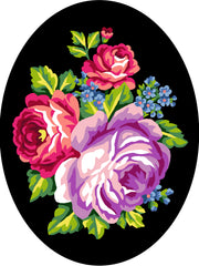 Collection d'Art Printed Needlepoint Tapestry Oval Canvas Needlecraft 25x30cm - Flowers With Black Background