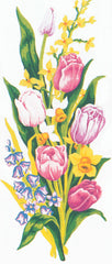 Collection d'Art Printed Needlepoint Tapestry Canvas Needlecraft 60x30cm - Tulips