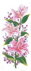 Collection d'Art Printed Needlepoint Tapestry Canvas Needlecraft 60x30cm - Pink Lillies