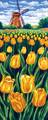 Collection d'Art Printed Needlepoint Tapestry Canvas Needlecraft 60x30cm - Tulip Field