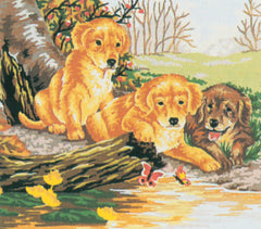Collection d'Art Printed Needlepoint Tapestry Canvas Needlecraft 25x30cm - Labrador Puppies