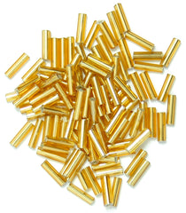 Craft Factory Bugle Glass Beads For Jewellery Making, Knitting, Sewing - 6mm Gold - Hobby & Crafts