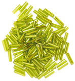 Craft Factory Bugle Glass Beads For Jewellery Making, Knitting, Sewing - 6mm Lime Green - Hobby & Crafts