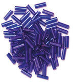 Craft Factory Bugle Glass Beads For Jewellery Making, Knitting, Sewing - 6mm Purple - Hobby & Crafts
