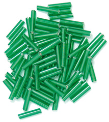 Craft Factory Long Bugle Glass Beads For Jewellery, Knitting, Sewing - 9mm Green - Hobby & Crafts