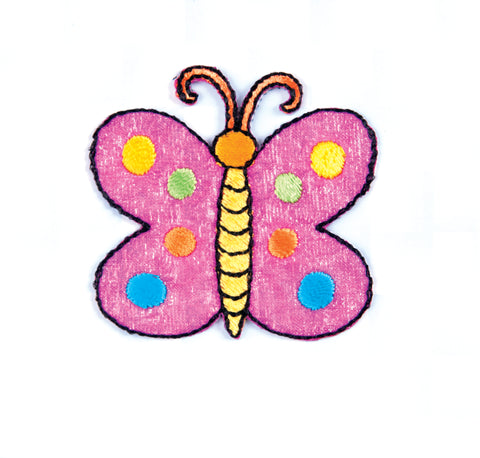 Sew On Motifs Lace Jeans Dresses Appliques Patches 4.8 cm -Pink Spotty Butterfly - Hobby & Crafts
