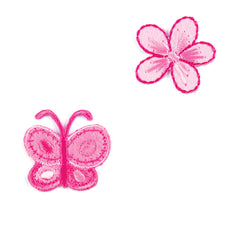 Sew On Motifs Lace Jeans Dresses Appliques Patches 3 cm -Pink Butterfly Flower - Hobby & Crafts