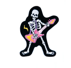 Sew On Motifs Lace Jeans Dresses Garment Applique Patches 6cm -Rockstar Skeleton - Hobby & Crafts