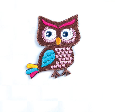 Sew On Motifs Lace Jeans Dresses Garments Appliques Patches 4.5cm -Colourful Owl - Hobby & Crafts