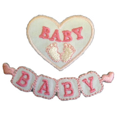 Sew On Motifs Lace Jeans Dresses Garments Appliques Patches 5.5 cm x 1.5 cm -Pink Baby Blocks - Hobby & Crafts